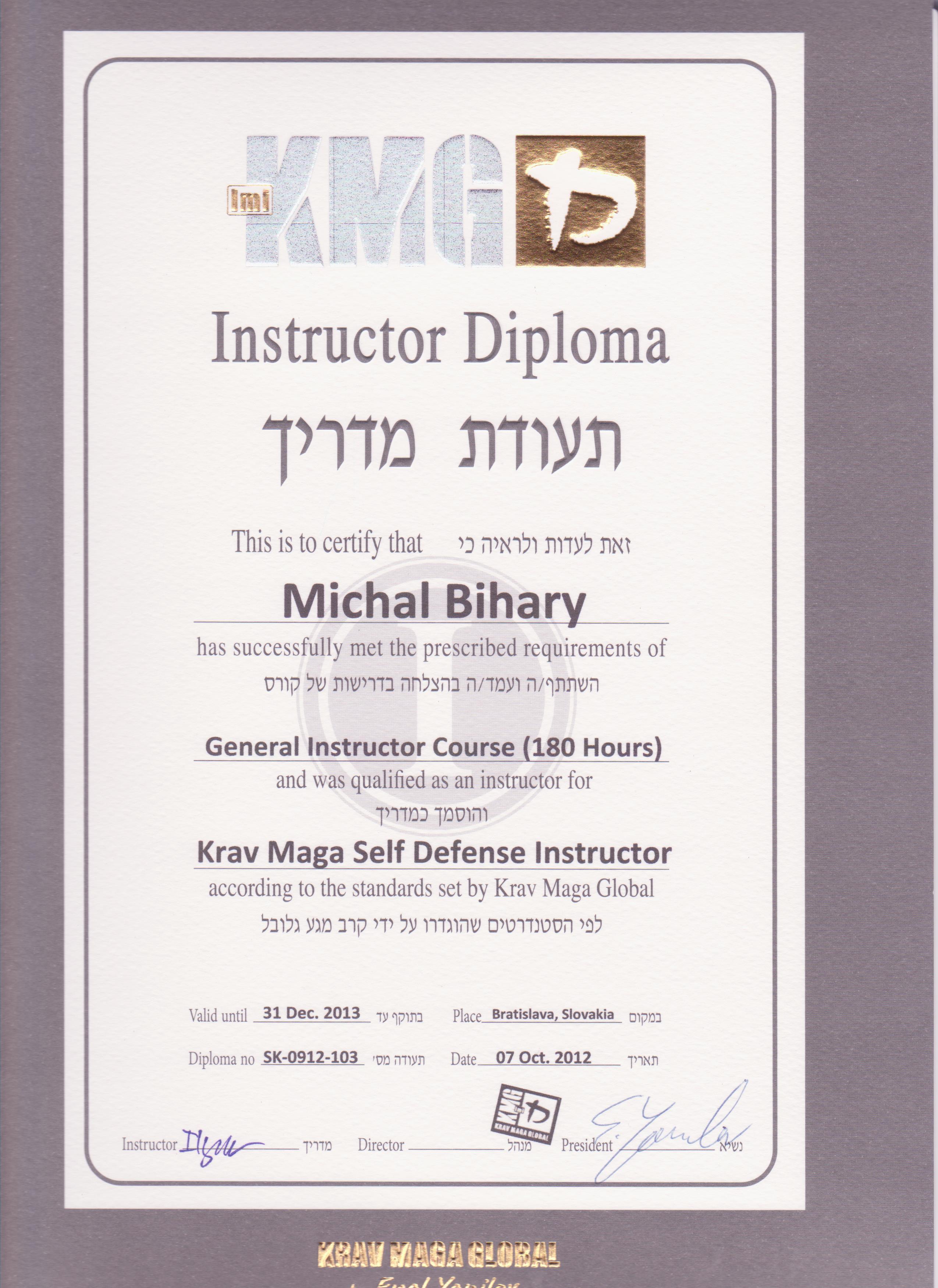 Michal Bihary Certifikat
