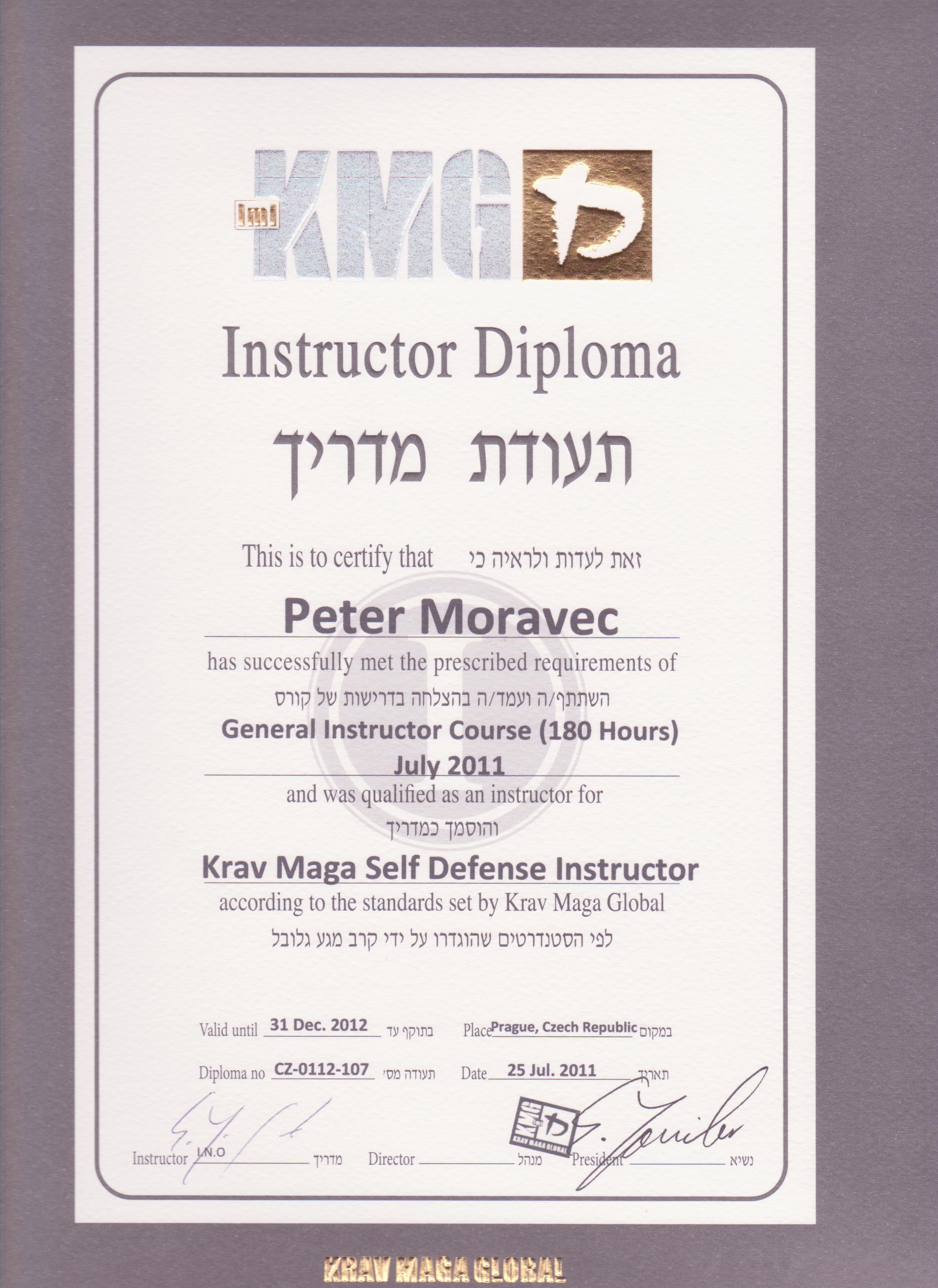 Certifikat Peter Moravec